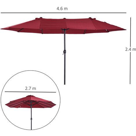 outsunny double canopy sun umbrella parasol crank open outdoor patio shade 4 6m wine red