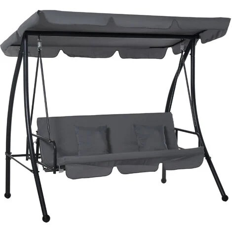 outsunny 2 in 1 patio swing chair 3 seater hammock cushion bed tilt canopy grey