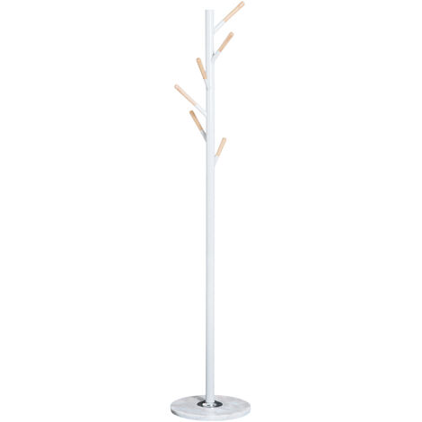 homcom 174cm free standing metal coat rack stand with marble base 6 hooks white