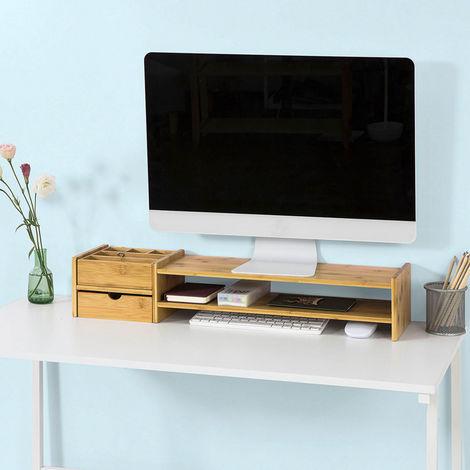 rehausseur d ecran support pour ecran d ordinateur en bambou bbf01 n sobuy