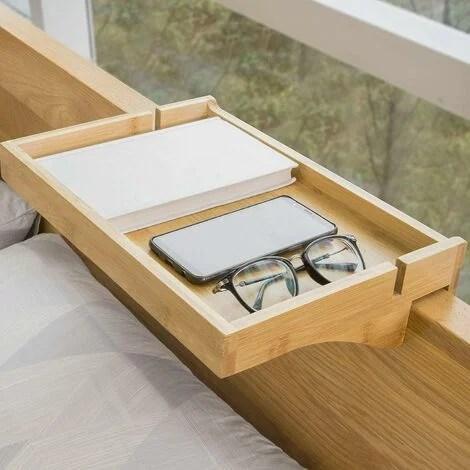 Petite Table De Chevet Etagere Suspendue En Bambou Table De Nuit Sobuy Nkd01 N