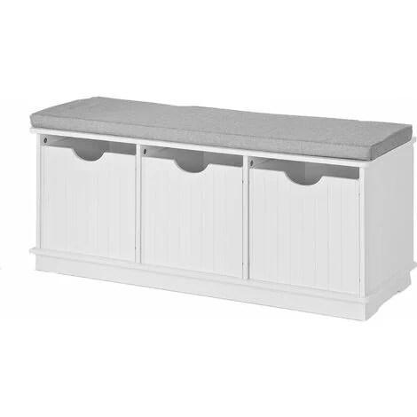 banc de rangement avec 3 cubes et coussin rembourre meuble d entree commode a chaussure banquette confortable sobuy fsr30 w