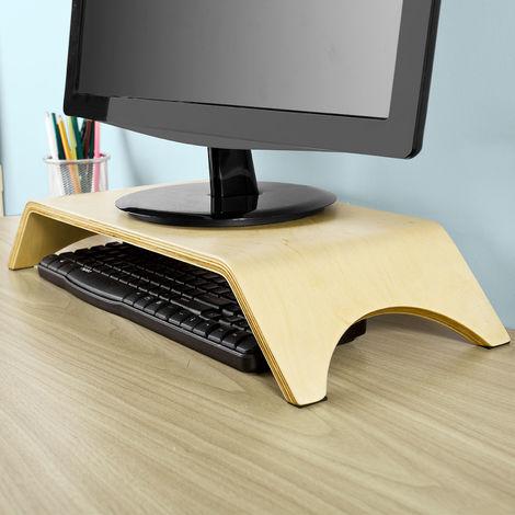support pour rehausseur moniteur ecran pc tv lcd support ecran ergonomique universel en bois pour bureau frg98 n sobuy
