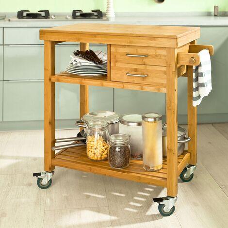 meuble rangement cuisine roulant en bambou chariot de cuisine desserte a roulettes fkw26 n sobuy