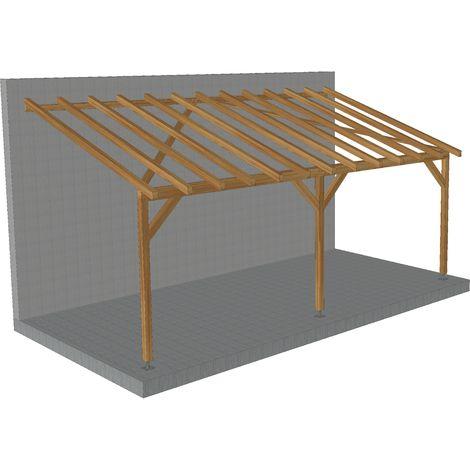 carport adosse 6x3 tuilable pente 30 bois massif traite cl3 marron robuste sans la visserie et sans les pieds de poteaux