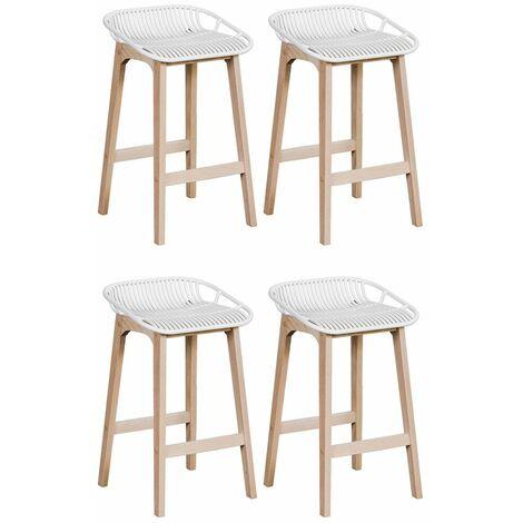 tabourets de bar ilot central bois et blanc h65cm malmo lot de 4 blanc