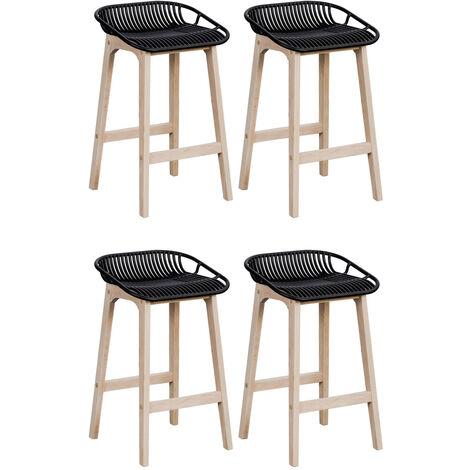 tabourets de bar ilot central bois et noir h65cm malmo lot de 4 noir