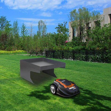 bc elec hmgl01 abri pour robot tondeuse en acier galvanise avec espace decoratif garage carport toit protection exterieure 60x70x36cm nero