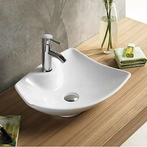 vasque a poser avec plage de robinetterie ceramique blanc brillant 49x38 cm feuille