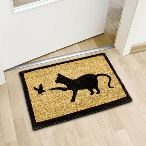 paillasson en fibres de coco tapis de sol porte d entree accueil motifs chat et oiseau 40 x 60 cm dessous antiderapant caoutchouc pvc essuie pieds