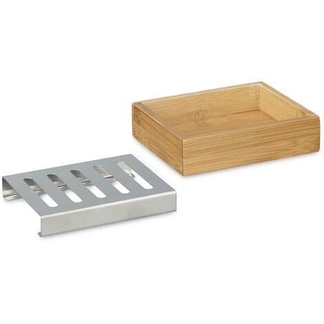porte savon bambou rectangle avec grille en inox support pour savon nature salle de bain hxlxp 3 x 12 5 x 10 cm nature