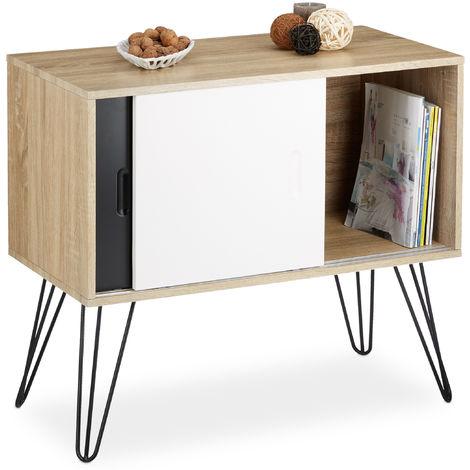commode retro design en bois et metal annees 60 sideboard meuble rangement scandinave hxlxp 70 x 80 x 40 cm noir blanc