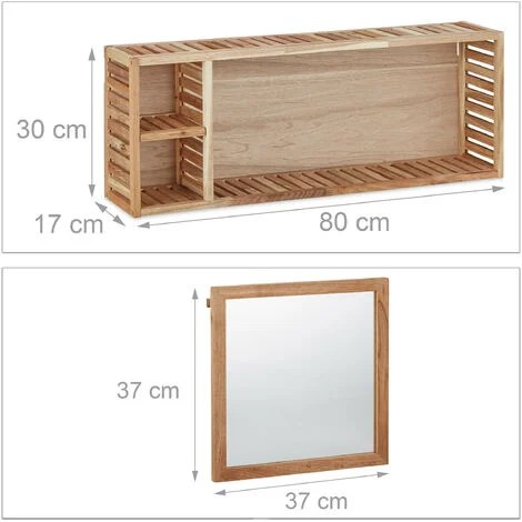 etagere murale avec miroir coulissant salle de bain armoire bois de noyer huile side board 80 cm de largeur nature