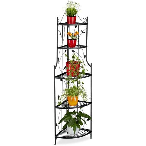 relaxdays etagere a fleurs de coin en metal 5 niveaux goth meuble plantes pliable presentoir hxlxp 160 x 36 x 36 cm noir