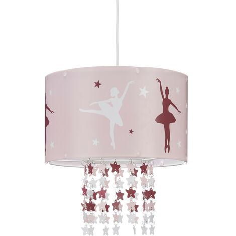 lampe a suspension fille danseuses etoiles ballerines plafond motifs etoiles mobile chambre enfant rose