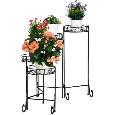 escalier fleurs metal 5 niveaux support pot de fleurs etagere pour plantes rond decoration 65x125x23cm noir