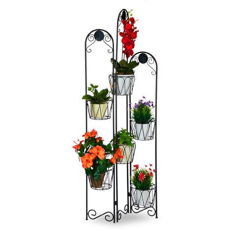 etagere fleurs metal 6 niveaux support pot de fleurs escalier pour plantes decoration h 140 cm noir