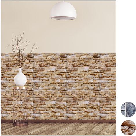 jeu de 5 panneaux muraux autocollant aspect pierre en 3d pvc mur de pierres 50 x 50 cm differentes couleurs