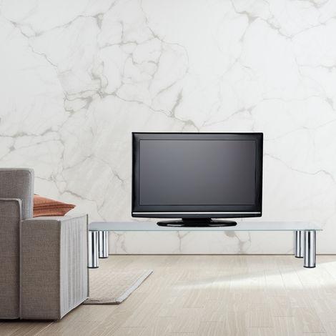 table tv pieds metalliques chromes elevation ecran rectangulaire rehausseur en verre 100x35x17 cm blanc