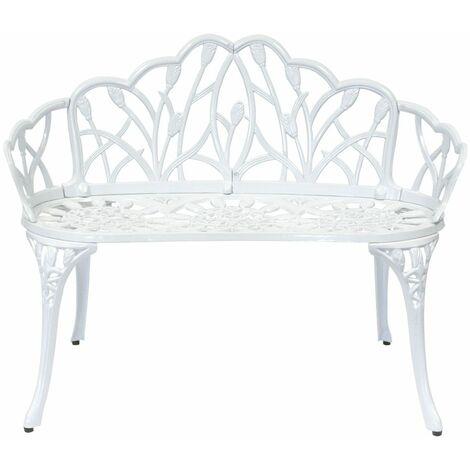 charles bentley white tulip cast aluminium metal 2 seats garden patio bench seat white
