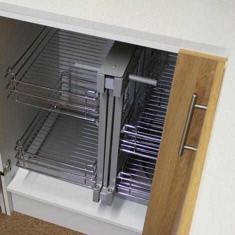 kukoo 4 paniers coulissants d angle cote gauche en metal pour placard ou cabinet de cuisine entre 90 100cm argent