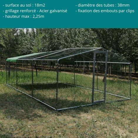 enclos poulailler 18m o38mm parc a poules 6x3x2 25m acier galvanise grande hauteur et tube epais