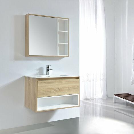 meuble salle de bain design 80 cm frame finition melamine chene avec vasque ceramique meuble seul meuble seul