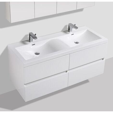 Meuble Salle De Bain Design Double Vasque Siena Largeur 144 Cm Blanc Laque Blanc A 1440 Cab Hgwhite A 1440 Bas