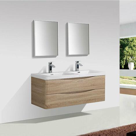 meuble salle de bain design double vasque piacenza largeur 120 cm chene clair marron