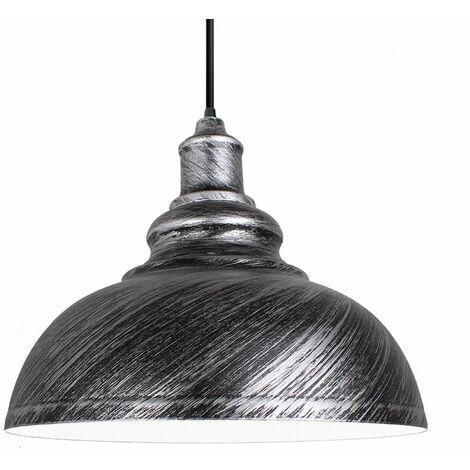 lustre suspension industrielle vintage e27 290mm lampe plafonniers retro abat jour pour cuisine salle a manger salon chambre restaurant gris argente