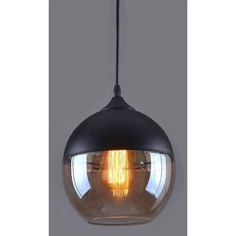 suspension design sphere style retro vintage contemporain lustre abat jour en verre corde ajustable luminaire salle a manger chambre a coucher salon