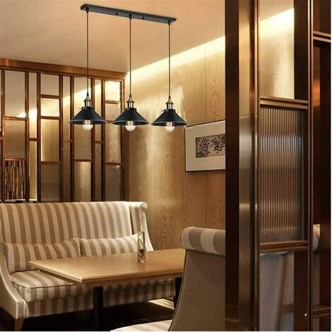 suspension industrielle vintage luminaire abat jour 22cm retro lustre en metal fer lampe plafonnier corde ajustable e27 blanc