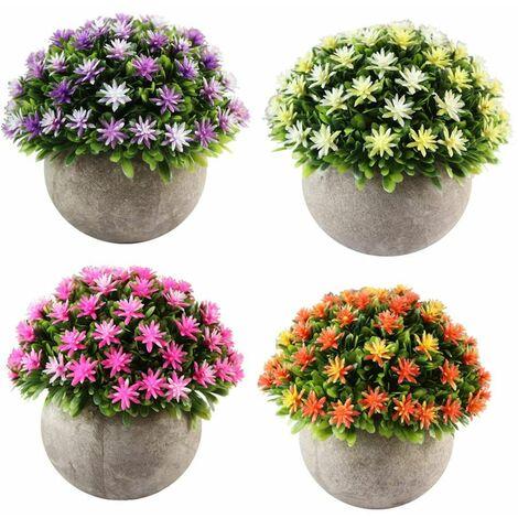 lot de 4 petites plantes artificielle des fleurs avec pot interieur exterieur pour deco orange rose jaune violet