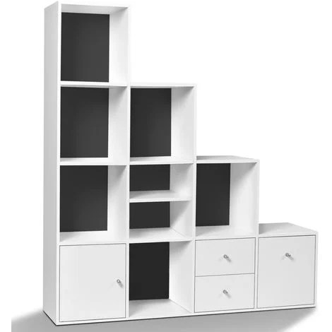 meuble de rangement en escalier liam 4 niveaux bois blanc porte tiroirs blancs fond gris