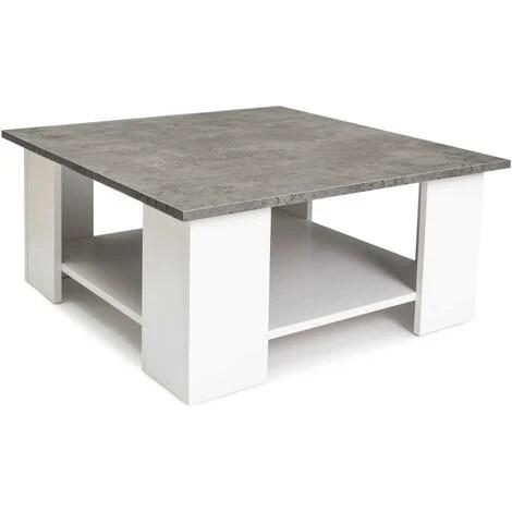 table basse carree eli blanche plateau effet beton