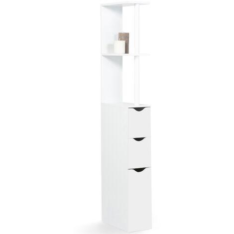 meuble wc etagere willy bois 3 portes blanc gain de place pour toilettes