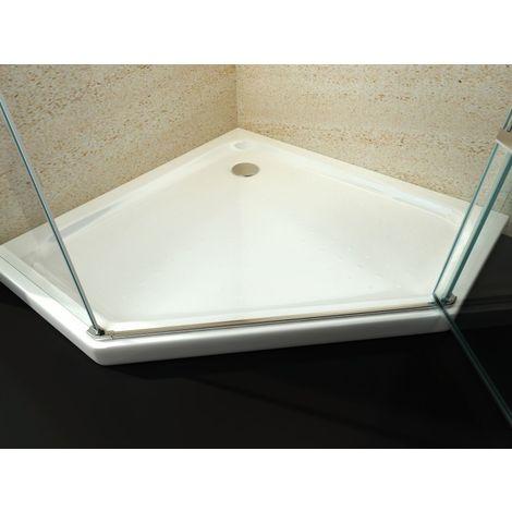 receveur de douche pentagonal en acrylique sanitaire 80 x 80 cm avec bonde d ecoulement