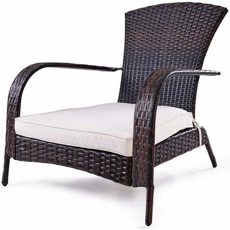 costway fauteuil de jardin en resine tressee marron 78x80x80 cm avec coussin lavable pour jardin chambre balcon salon