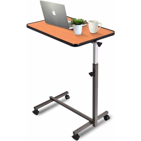 costway table de lit support ordinateur inclinable a roulette structure en metal hauteur reglable pour lit et canape hetre