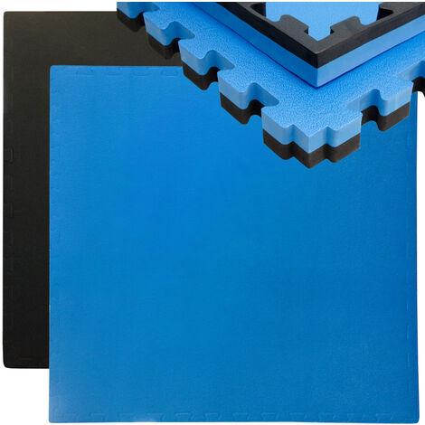 eyepower tapis puzzle de fitness 90x90cm protection sol de sport en mousse eva epais 40mm extensible reversible noir bleu