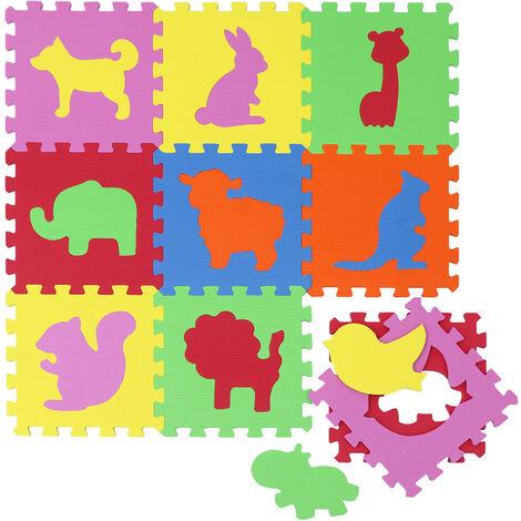 tapis de jeu doux pour bebe dalles puzzle en mousse enfants animaux