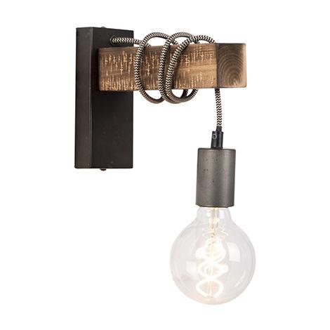 applique industrielle noire avec bois gallow qazqa industriel luminaire interieur