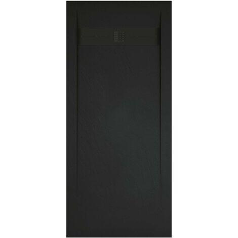 receveur de douche extra plat noir anthracite 70x100 cm collection g i antiderapant et pose rapide