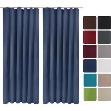 beautissu lot de 2 rideaux occultants a ruflette amelie 140x245 cm bleu