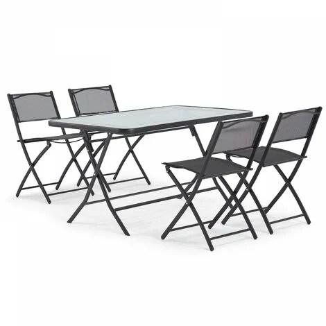 table de jardin et 4 chaises pliantes en acier et verre calvi noir noir