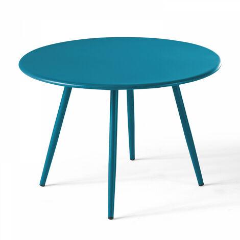 table basse de jardin ronde o50cm acier thermolaque palavas bleu pacific bleu