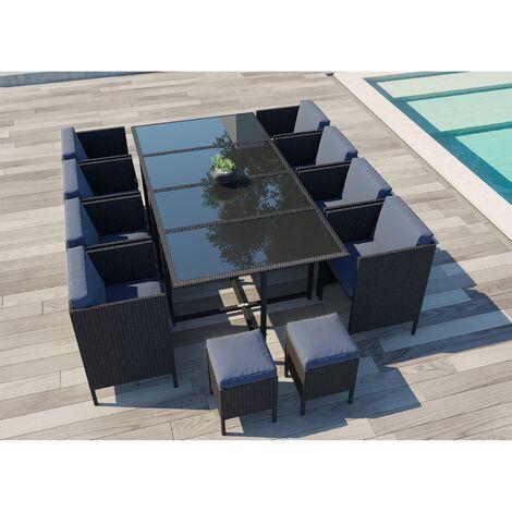 daytona 12 salon de jardin encastrable 12 places en resine tressee noir gris