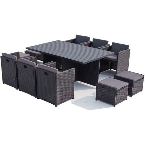 sunset 10 salon de jardin encastrable 10 places en resine tressee et aluminium noir gris