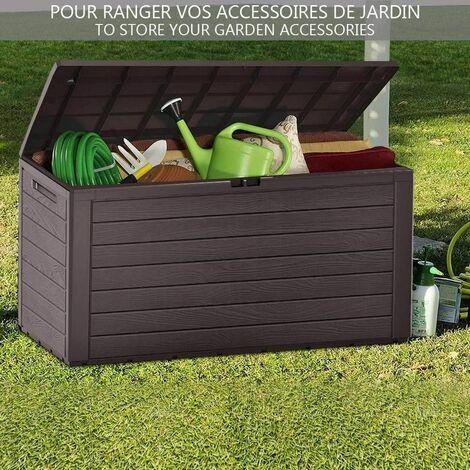 coffre de rangement exterieur 280l en pp 116x44x55cm style bois marron