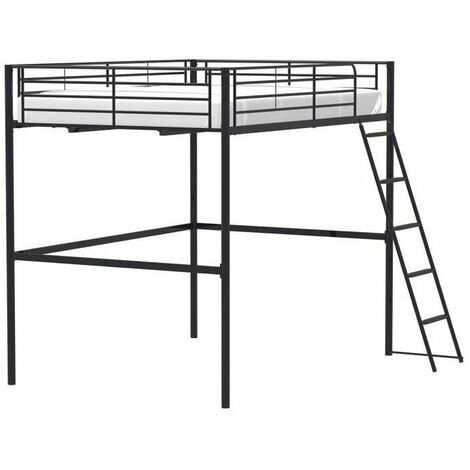 lit mezzanine en metal noir sommier inclus 140 x 200 cm eliot